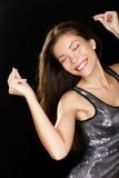 Dansa partikvinnan i den sexiga klänningen som har rolig dans Royaltyfria Foton