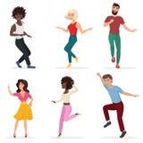 Dansa ungdomar Lyckliga mång- etikmän och kvinnor flyttar sig till musiken Illustration för vektortecknad filmlägenhet stock illustrationer
