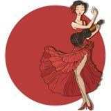 dansare dansar spanjor för illustration för ventilatorflamencoflicka royaltyfri illustrationer