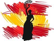 dansare dansar spanjor för illustration för ventilatorflamencoflicka Arkivbilder