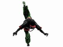 Dansare för avbrott för höftflygtur som akrobatisk breakdancing banhoppningsi för ung man Arkivbild