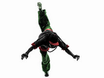 Dansare för avbrott för höftflygtur som akrobatisk breakdancing banhoppningsi för ung man Royaltyfria Foton