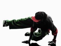 Dansare för avbrott för höftflygtur som akrobatisk breakdancing handstans för ung man Royaltyfri Foto