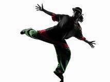 Dansare för avbrott för höftflygtur som akrobatisk breakdancing konturn för ung man Arkivfoto