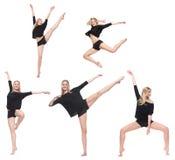 Dansare i olika fem poserar isolerat Royaltyfri Foto