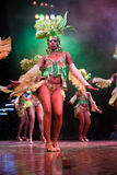Dansare med härliga klänningar utförde i Tropicana, Maj 15, 2013 i havannacigarr, Cuba.formed Arkivbild