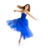 Dansareflicka i rörelse som isoleras på vit Royaltyfri Bild