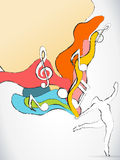 dansaremusik bemärker silhouetten Arkivbild
