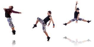 Dansaren som isoleras på den vita bakgrunden Arkivbilder