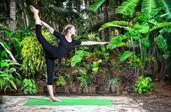 dansarenatarajasanaen poserar yoga Arkivfoto
