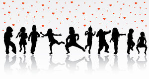 Dansbarnkonturer royaltyfri illustrationer