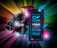 Danse Art Design Poster de disco avec des formes et des baisses abstraites de couleurs Photographie stock libre de droits