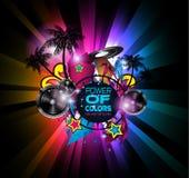 Danse Art Design Poster de disco avec des formes et des baisses abstraites de couleurs Images stock
