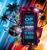 Danse Art Design Poster de disco avec des formes et des baisses abstraites de couleurs Image stock