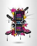 Danse Art Design Poster de disco avec des formes et des baisses abstraites de couleurs Photos libres de droits