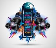 Danse Art Design Poster de disco avec des formes et des baisses abstraites de couleurs Image libre de droits