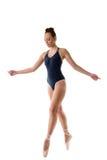 Danse avec du charme de femme dans des chaussures de pointe de ballet Photo stock