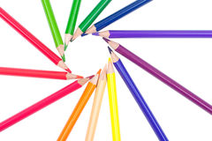 Danse colorée de crayons Photographie stock libre de droits