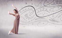 Danse d'art du spectacle de danseur classique avec des lignes et des flèches Photo stock