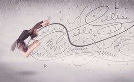 Danse d'art du spectacle de danseur classique avec des lignes et des flèches Photos stock