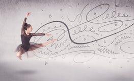 Danse d'art du spectacle de danseur classique avec des lignes et des flèches Images stock