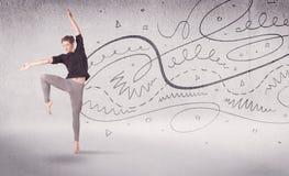 Danse d'art du spectacle de danseur classique avec des lignes et des flèches Photo libre de droits