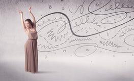 Danse d'art du spectacle de danseur classique avec des lignes et des flèches Image libre de droits