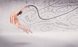 Danse d'art du spectacle de danseur classique avec des lignes et des flèches Images libres de droits