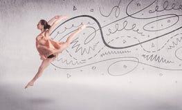 Danse d'art du spectacle de danseur classique avec des lignes et des flèches Photographie stock libre de droits