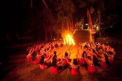 Danse d'incendie de Kecak de femmes Photos libres de droits
