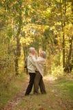Danse d'une cinquantaine d'années heureuse de couples en parc d'automne Image libre de droits
