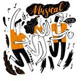 Danse dans le festival de musique illustration de vecteur