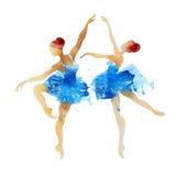Danse de ballerine de deux aquarelles Images stock