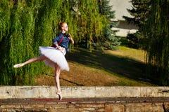 Danse de ballerine de hippie en parc d'automne Images stock