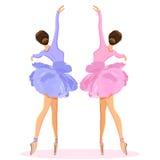 Danse de ballerine sur le pointe dans l'ensemble de vecteur de jupe de tutu de fleur illustration libre de droits