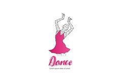 Danse de ballet avec la ligne conception de point Image stock