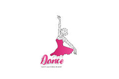 Danse de ballet avec la ligne conception de point Photos stock
