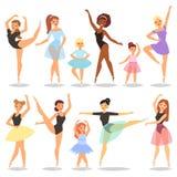 Danse de caractère de ballerine de vecteur de danseur classique dans l'ensemble d'illustration de tutu de ballet-jupe de femme cl illustration libre de droits
