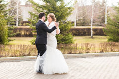 Danse de couples de mariage en parc photos stock