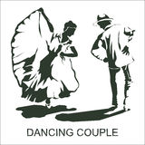 Danse de couples de silhouette Photos libres de droits