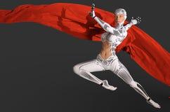 Danse de cyborg de femme avec une illustration rouge du tissu 3d illustration de vecteur
