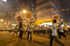 Danse de dragon d'incendie de coup de Tai à Hong Kong Photographie stock libre de droits