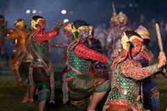 Danse de drame de Khon Ramakien ou de Ramayana Images libres de droits