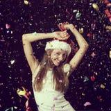 Danse de femme à une fête de Noël Photo libre de droits