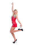 Danse de femme dans la robe rouge Photos libres de droits