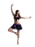 Danse de femme dans le costume sexy d'isolement Images stock