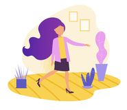 Danse de femme dans le vecteur plat cartoon Art d'isolement sur le fond blanc illustration de vecteur