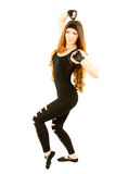 Danse de femme de forme physique en gymnastique sur d'isolement photographie stock libre de droits