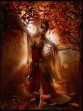 Danse de fille parmi des feuilles d'automne Images libres de droits