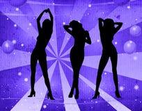 Danse de fille sur un rétro fond Photographie stock libre de droits